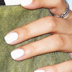 Beautiful white polish nails photo