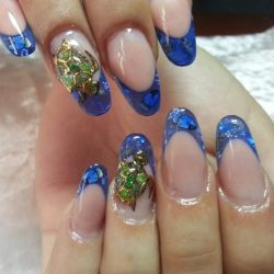 Blue French manicure photo