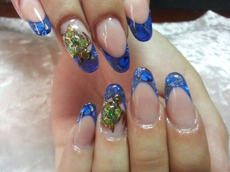 Navy french manicure - The Best Images   BestArtNails.com