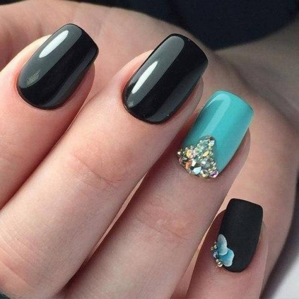 Black and turquoise nails - The Best Images | BestArtNails.com
