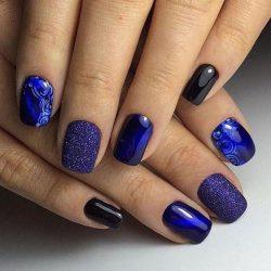 Nailsby a dark blue dress photo