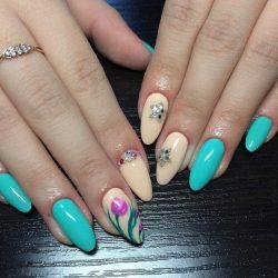Beige nails with rhinestones photo