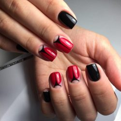 Red and black nails photo