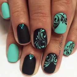 Ideas of turquoise nails photo
