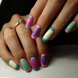 Multicolored french manicure photo
