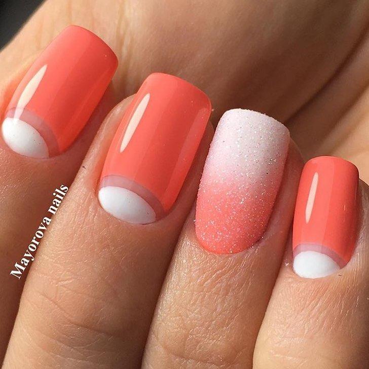 Цвет коралл ногти