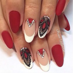 Red matte nails photo