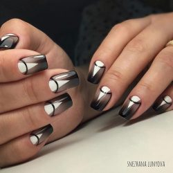 Black and white nail designs photo