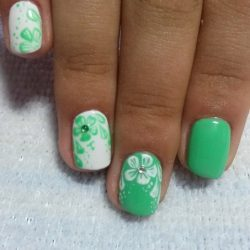 Green and white shellac photo