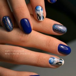 Painted blue nails photo