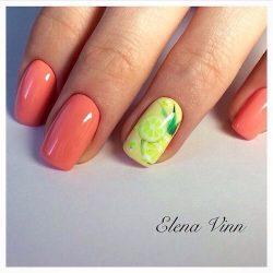 Nails for orange dress photo