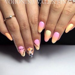 Summer nails with a picture photo