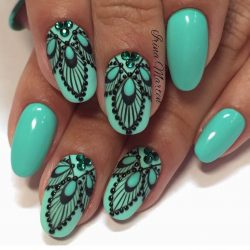Black and turquoise nails photo