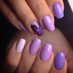 Purple short nails photo