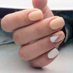 Beige nails by gel polish photo