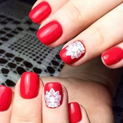 Painted red nails photo