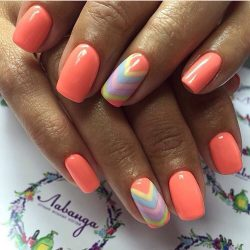 Orange summer nails photo