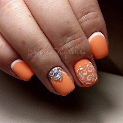 Reverse french gel polish manicure photo