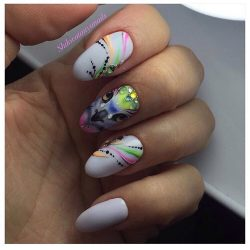 Picture on nails by gel polish photo