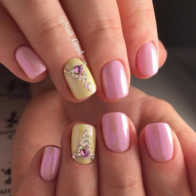 Yellow and pink nails - The Best Images | BestArtNails.com
