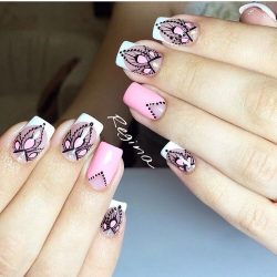 French nails with flowers photo