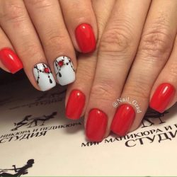 Red and white nails ideas photo