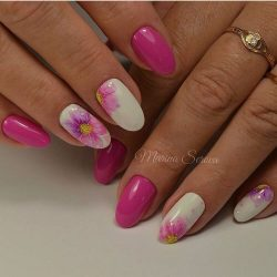 Pink nails with flowers photo