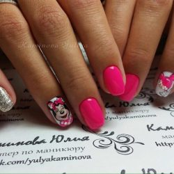Pink gel polish for nails photo