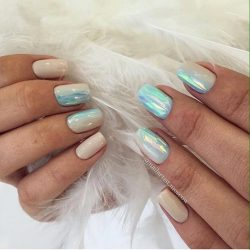 Beige blue nails photo