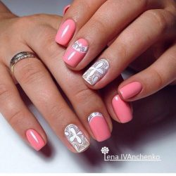 Peach nails with a picture photo