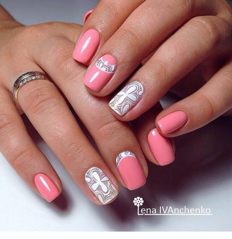 Acrylic nails french with glitter