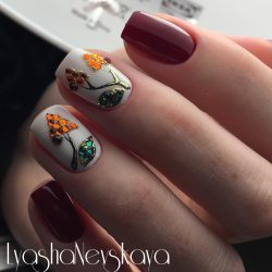 Fall nails with rhinestones photo