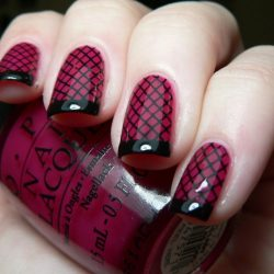 Black and burgundy nails photo