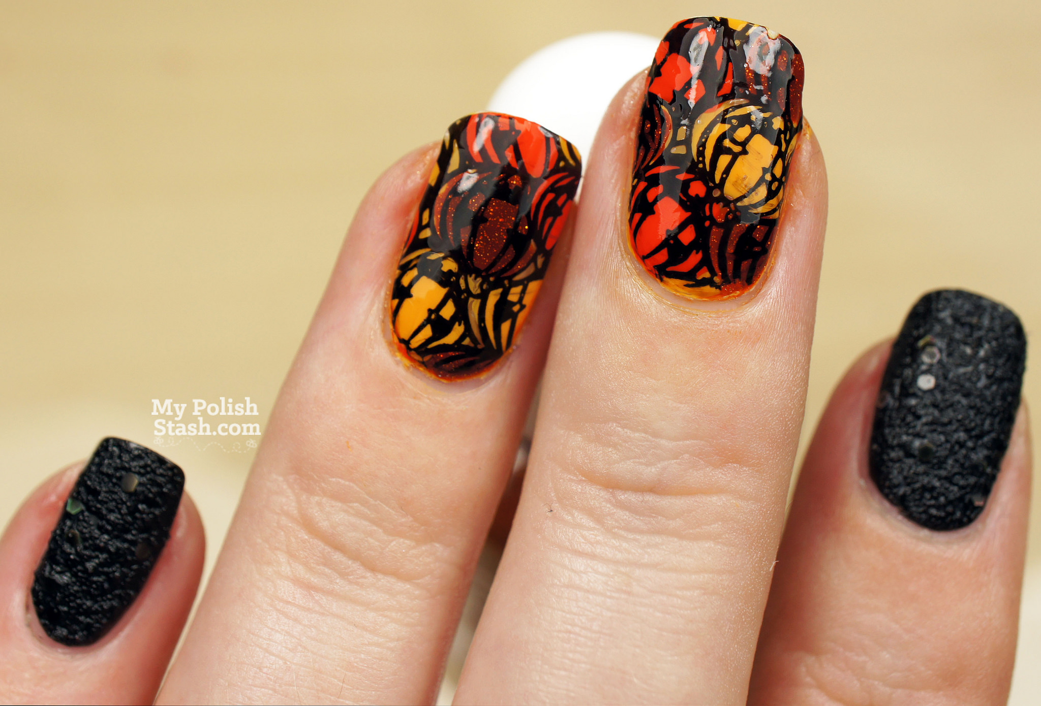 Pumpkin Nail Art Designs