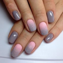 Nails by a gray dress photo