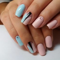 Pink and blue nails photo