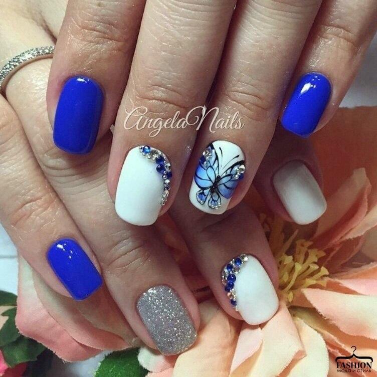Васильковый цвет ногтей дизайн