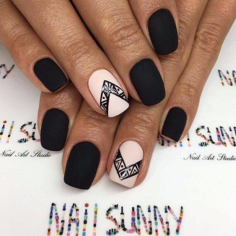 Matte black nails