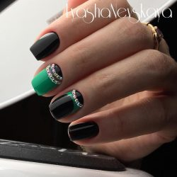 Dark half moon nails photo