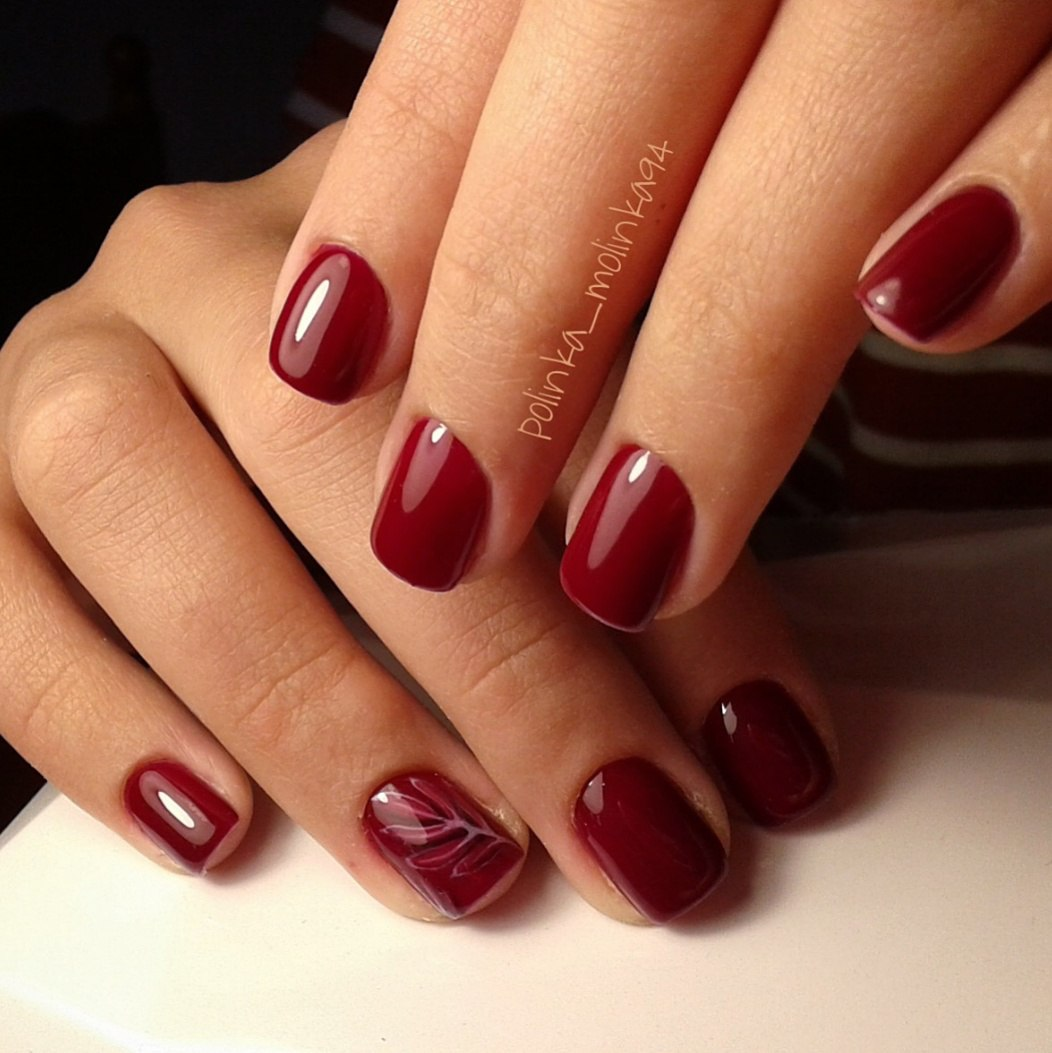 Maroon nails by gel polish - The Best Images | BestArtNails.com