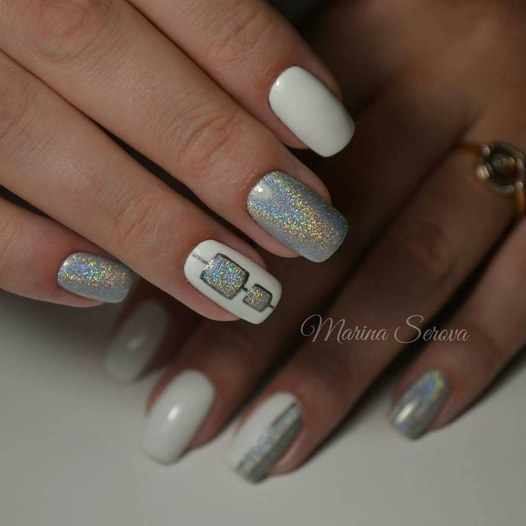 White and silver nails - The Best Images | BestArtNails.com