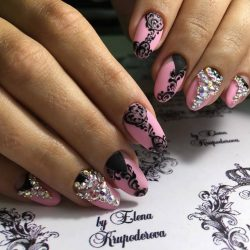 Nails with black pattern photo