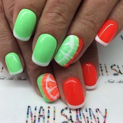 Manicure by summer dress photo