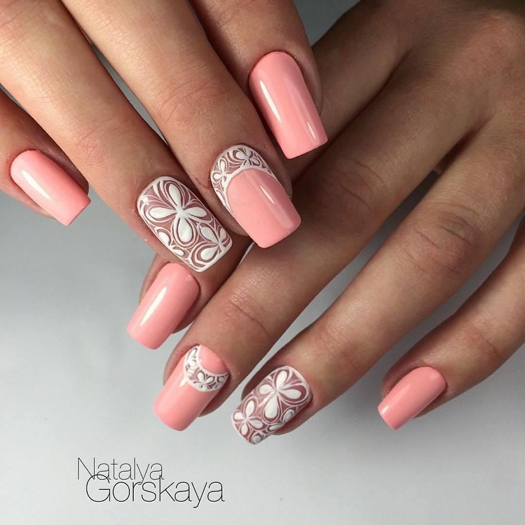 Свадебные рисунки на ногтях френч 34