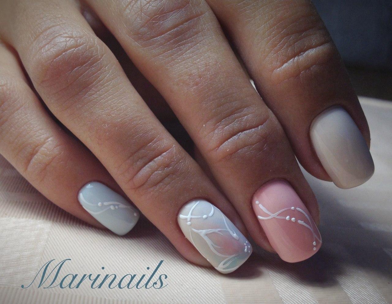 Manicure by summer dress
