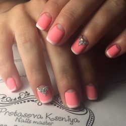 French manicure with rhinestones photo