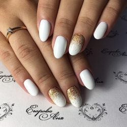 White nails with sequins photo