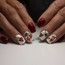 Red and white nails photo