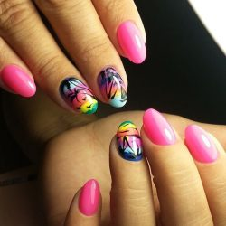 Palm tree nail art photo