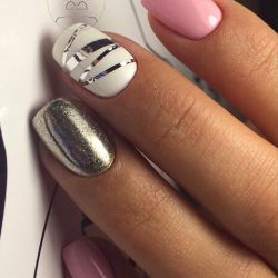 Pink and silver nails photo